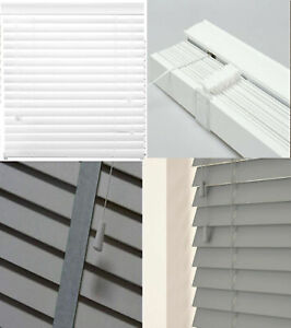 FAUX WOOD WOODEN VENETIAN BLIND WINDOW 50MM SLATS WITH TAPE WHITE ALL SIZES