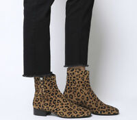Womens Office Adore Side Zip Casual Boots Leopard Flocked Suede Boots