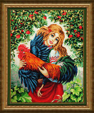Bead Embroidery kit GOLDEN HANDS LM-007 - Katyusha and the rooster