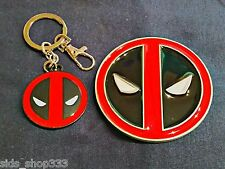 Comic Collectible Deadpool Belt Buckle and Key chain lot cosplay or just wear :)