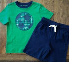 Gymboree Size 4 Outfit Green Soccer Tee Shirt & Blue Shorts Boys Football 4T