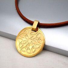 Gold Edelstahl Runden Keltischer Knoten Anhänger Braun Leder Halskette