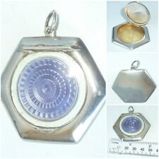 Art Deco English Silver guilloche Enamel Powder Compact Pendant Birmingham c1920