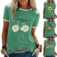 Summer Womens Loose Sunflower Blouse Basic Ladies Shirt Holiday Tee Floral Tops