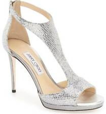 NIB $850+ Jimmy Choo LANA T Strap Heel Sandal Shoe Silver Glitter Sz 37.5 - 7