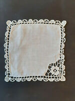 Vintage small white linen square cloth with crochet edges and floral corner.