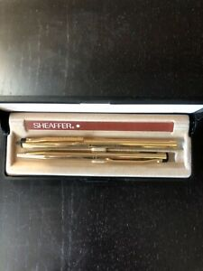 Vintage Sheaffer Gold Pens Set with Case