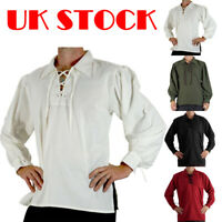 Medieval Renaissance Mens Knight Pirate Shirt Lace up Costume Fancy Dress Tops