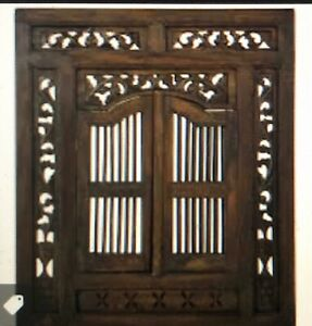 Hand Carved Mahogany Wood Window Mirror