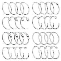 32PCS Nose Ring Hoop Stud Huggie Septum Stainless Steel Body Piercing Jewelry