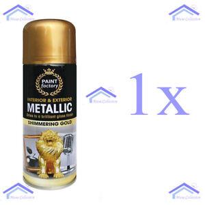 1X 200ml GOLD Metallic Spray Paint Aerosol Auto Matt Gloss Lacquer Wood Metal