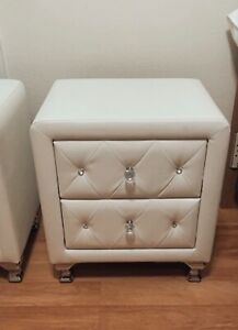 Baxton Studio Stella Crystal Tufted Leather Modern Nightstand White Contemporary