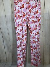 OILILY Women's Floral Long Pants Sz XS/4/34 Pink White Orange Straight Leg (32B)