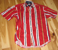 VINTAGE TOMMY HILFIGER RED WHITE NAVY BLUE YELLOW BOLD BRIGHT STRIPE SHIRT MED M