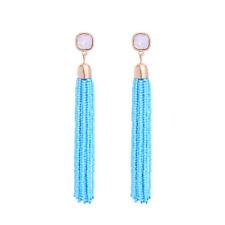 Boucles d`Oreilles Clous Doré Long Pompon Mini Perle Turquoise Bleu Cremeux XX23