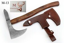 "17.5"" HAND FORGED DAMASCUS TOMAHAWK , HATCHET, AXE- ROSE WOOD HANDLE M-13"