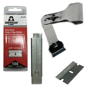 "4"" Straight Utility Knife 8"" Scraper & 100 Steel .009"" Single Edge Razor Blades"