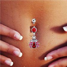 Belly Bar Piercing Sterling Silver Heart Dangling Briolette Light Siam Crystal