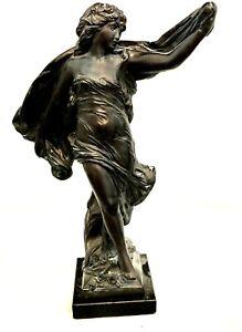 """Austin Sculptures  (c) 1990 """"La Grace""""  20"""" Tall Woman Wood Base"""