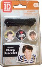 "1D -  LOUIS ""One Direction Jewelry"" I HEART LOUIS CHARM BLACK BRACELET ""NEW """