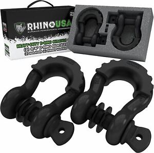 """Rhino USA D Ring Shackle (2 Pack) 41,850lb Break Strength – 3/4"""" Shackle with 7/"""