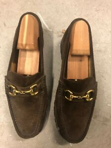 MENS COLE HAAN BROWN SUEDE LOAFERS GOLD BIT SIZE 8 M