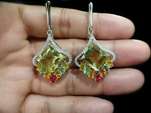 Natural Square Citrine 12.5mm MS 14K White Gold Plate 925Sterling Silver Earring