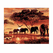 Sunset Elephant  Paint By Number Kit Abstract DIY Oil Painting On Cavas No Frame