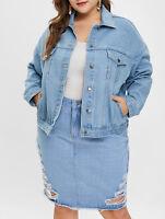 Womens' Plus Size Button Fly Denim Jacket Long Sleeve Turn-Down Collar Jean Coat