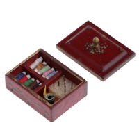 Dollhouse Miniature Sewing Needle and Thread in Red Wooden Box 1/12 Scale