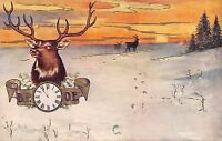 BPOE~12 Point Buck Elk Head in Gold Clock Banner~Orange Gold Sunset~Snow~1908 PC