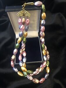 Vintage Layered Multi Coloured Necklace Beads Made in Hong Kong 60s Pink Blue