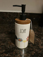 Rae Dunn Soap Dispenser Watercolor Floral Flowers & Wood  LL By Magenta VHTF