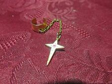 Goldtone Painted Cross Dangle Rose Charm Ear Cuff