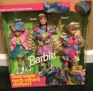 New NRFB 1991 Barbie Sharin Sisters  with Stacie and Skipper Share Clothes 10143