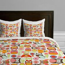 DENY Designs Valentina Ramos Cute Little Owls Duvet Cover, QUEEN