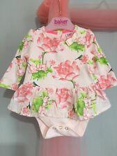 Baby Girls Designer Ted Baker Pink Floral Lotus Print Top Built In Vest 0-3m