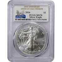 2016 $1 American Eagle 1 oz .999 Silver Dollar Coin MS 70 PCGS 30th Anniversary