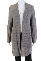 Theory Womens Casual Long Sleeve Open Front Cardigan Sweater Beige Cotton Size L