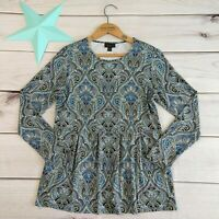 J. Jill Wearever Collection Paisley Print Top Size PS Petite Jersey Knit Long