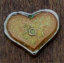 Heart Shaped Pin Front, Pretty Front Cute Silver Tone Acrylic Filled Glittery