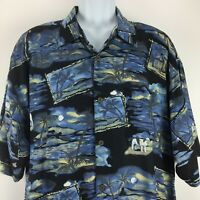 Big Dogs XL Blue Black Mens Shirt Short Sleeve Hawaiian Palm Trees Beach Rayon