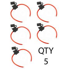 (5) 5 Pack 8 Gauge ATC Fuse Holder In-line Wire 12 volt Power Blade