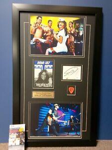 BLINK 182 TOM DELONGE Signed JSA COA 8x10 Guitar Pick 1999 Backstage Pass FRAME
