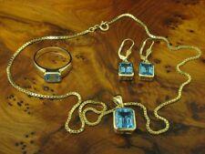 14kt 585 Gold Schmuckset mit 8,20ct Blautopas / Kette, Anhänger, Ring & Ohrringe