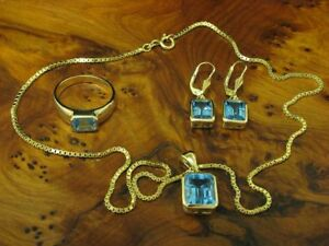14kt 585 Gold Jewelry Set with 8,20ct Blue Topaz / Chain,Pendant,Ring & Earrings