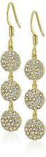 Chloe + Theodora Gold Plated Cubic Zirconia Crystal Triple Crown Earrings NWT