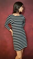 Old Navy Black & White Striped Knit Dress SP 3/4 Sleeves Casual Work Clothes