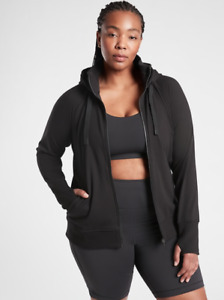 ATHLETA Triumph Hoodie Sweatshirt PLUS 1X Black   Workout Fleece Jacket NWT NEW