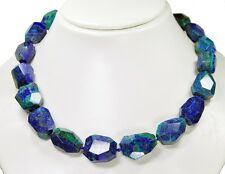 BEAUTIFUL NECKLACE FROM PRECIOUS STONES Azurite-Malachite Faceted Free-Form